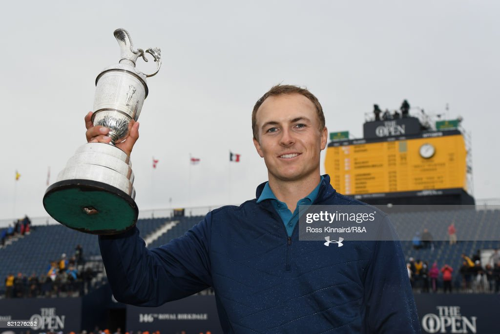 Jordan Spieth of the United States holds the Claret Jug after winning the 146th Open Championship at Royal Birkdale on July 23, 2017 in Southport, England.