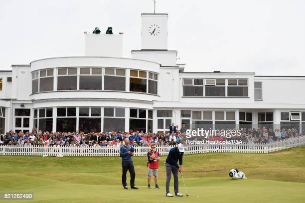 Jordan Spieth of the United States holes his par putt on the 18th green during the final round of the 146th Open Championship at Royal Birkdale on...