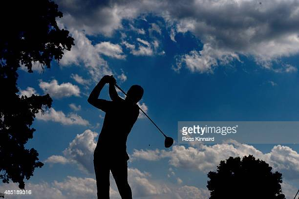 Jordan Spieth of the United States in action during a practice round prior to The Barclays at the Plainfield Country Club on August 25, 2015 in...