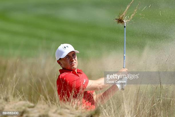Jordan Spieth of the United States in action during the proam as a preview for The Barclays in the PGA Tour FedExCup PlayOffs on the Black Course at...
