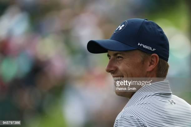 Jordan Spieth of the United States laughs during a practice round prior to the start of the 2018 Masters Tournament at Augusta National Golf Club on...