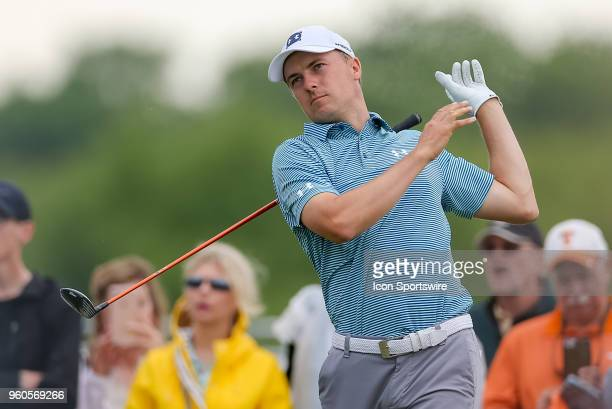 Jordan Spieth of the United States lets go of his club after hitting his tee shot on during the final round of the 50th annual ATT Byron Nelson on...