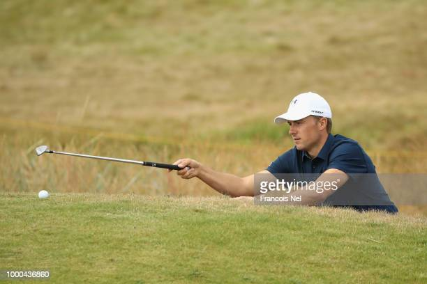 Jordan Spieth of the United States lines up a chip shot during previews to the 147th Open Championship at Carnoustie Golf Club on July 17 2018 in...