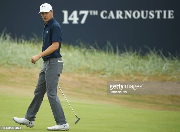Jordan Spieth of the United States lines up a putt on a green during previews to the 147th Open Championship at Carnoustie Golf Club on July 17 2018...