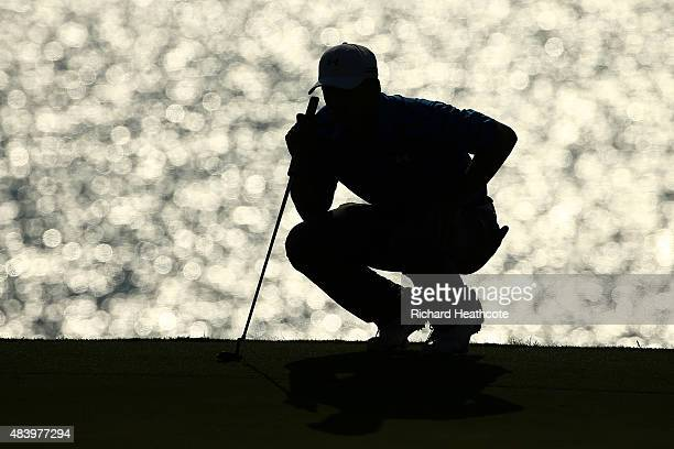 Jordan Spieth of the United States lines up a putt on the 12th hole during the second round of the 2015 PGA Championship at Whistling Straits on...