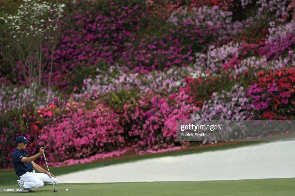 Jordan Spieth of the United States lines up a putt on the 13th hole during the first round of the 2018 Masters Tournament at Augusta National Golf Club on April 5, 2018 in Augusta, Georgia.
