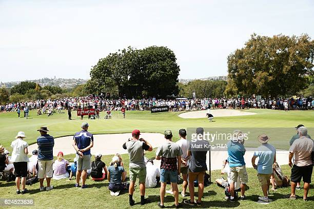 Jordan Spieth of the United States lines up a putt on the 9th green during day four of the 2016 Australian Open at Royal Sydney Golf Club on November...