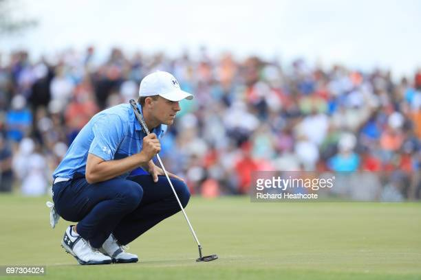 Jordan Spieth of the United States lines up a putt on the ninth hole during the final round of the 2017 US Open at Erin Hills on June 18 2017 in...