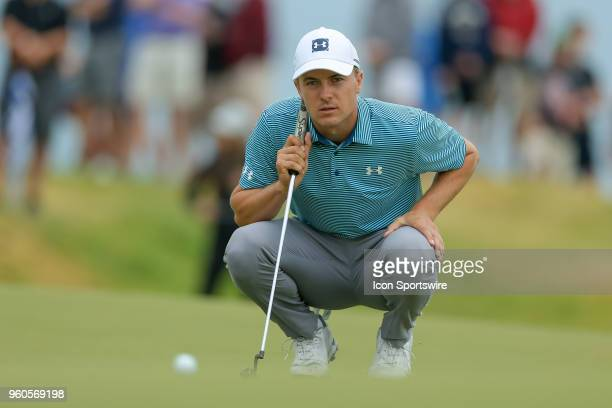 Jordan Spieth of the United States lines up his birdie putt on during the final round of the 50th annual ATT Byron Nelson on May 20 2018 at Trinity...