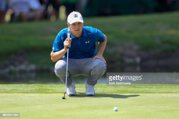 Jordan Spieth of the United States lines up his birdie putt on during the second round of the Fort Worth Invitational on May 25 2018 at Colonial...
