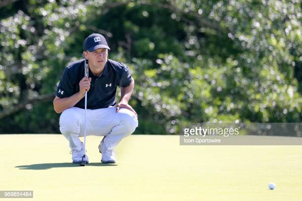 Jordan Spieth of the United States lines up his putt on during the second round of the 50th anniversary AT&T Byron Nelson on May 18, 2018 at Trinity...