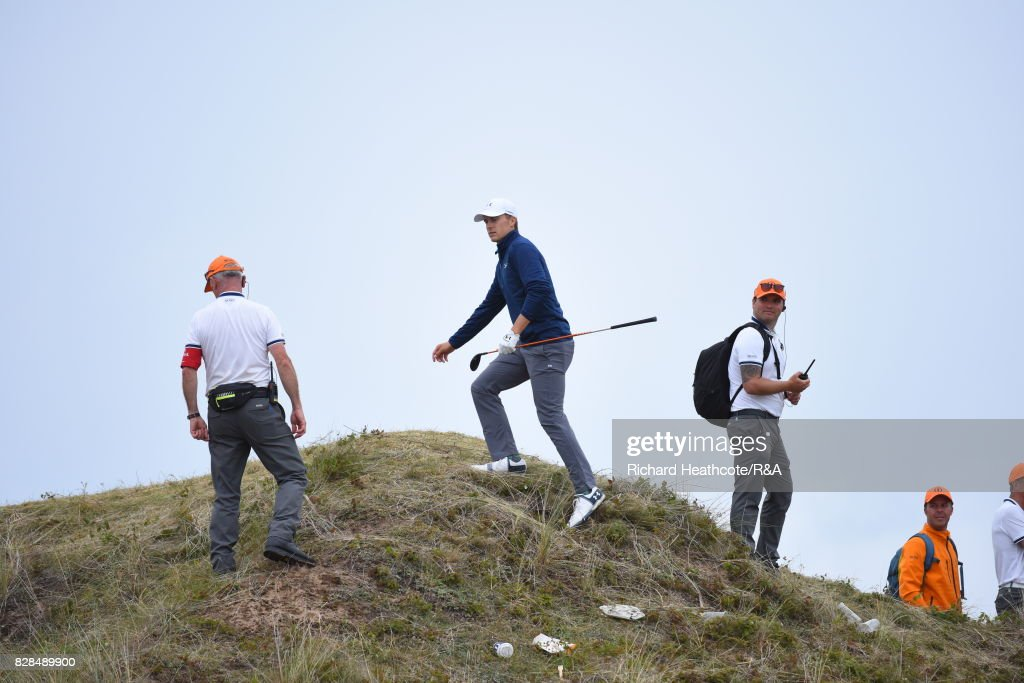 Jordan Spieth of the United States looks at his options to play on the 13th hole during the final round of the 146th Open Championship at Royal Birkdale on July 23, 2017 in Southport, England.