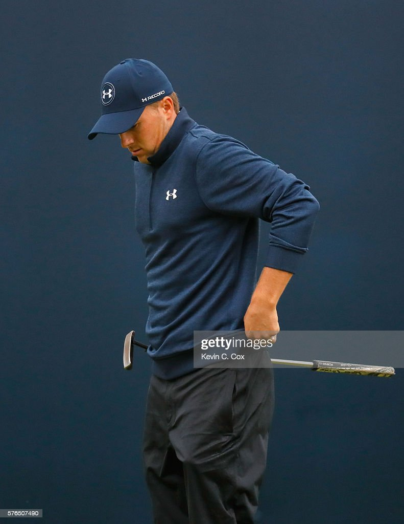 Jordan Spieth of the United States looks despondent on the 18th green during the second round on day two of the 145th Open Championship at Royal Troon on July 15, 2016 in Troon, Scotland.