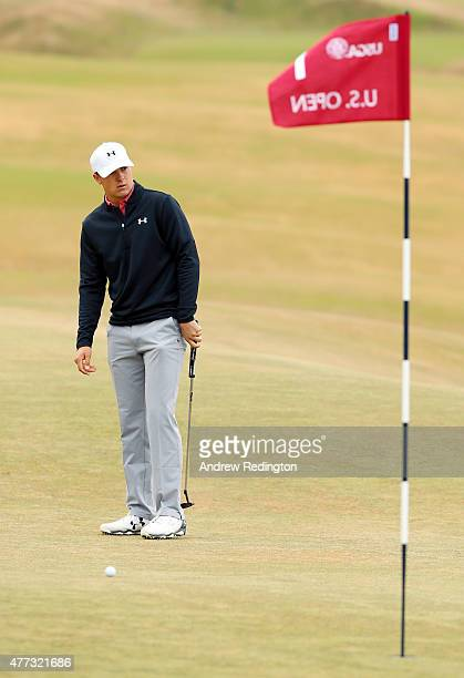 Jordan Spieth of the United States looks on during a practice round prior to the start of the 115th US Open Championship at Chambers Bay on June 16...