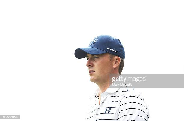 Jordan Spieth of the United States looks on during a practice round ahead of the 2016 Australian Golf Open at Royal Sydney Golf Club on November 15...