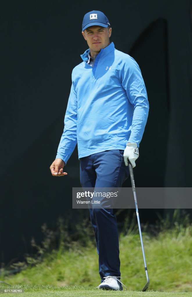 Jordan Spieth of the United States looks on during practice rounds prior to the 2018 U.S. Open at Shinnecock Hills Golf Club on June 11, 2018 in Southampton, New York.
