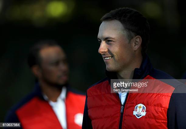 Jordan Spieth of the United States looks on during team photocalls prior to the 2016 Ryder Cup at Hazeltine National Golf Club on September 27, 2016...