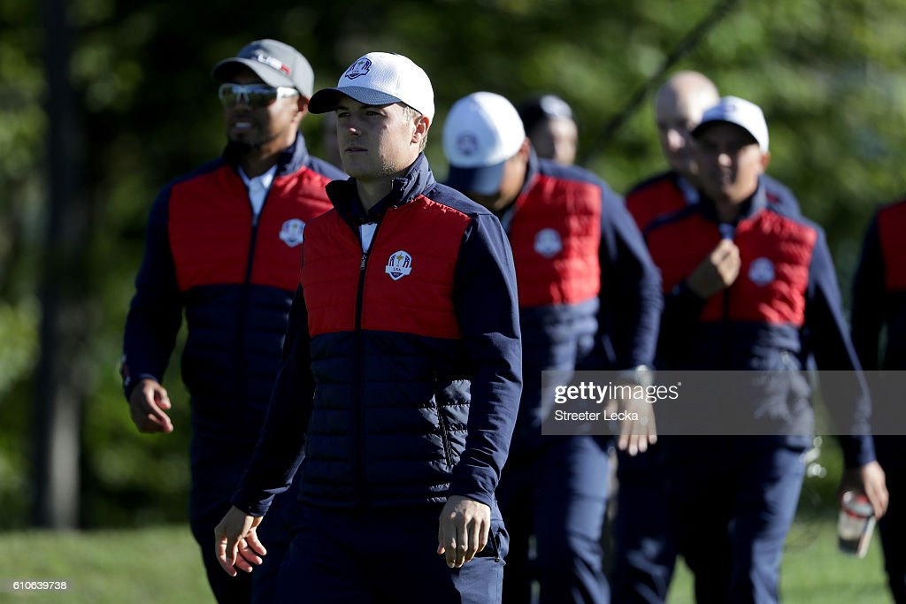 Jordan Spieth of the United States looks on during team photocalls prior to the 2016 Ryder Cup at Hazeltine National Golf Club on September 27, 2016 in Chaska, Minnesota.