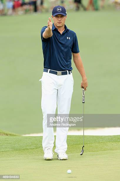Jordan Spieth of the United States looks over the second green during the final round of the 2015 Masters Tournament at Augusta National Golf Club on...
