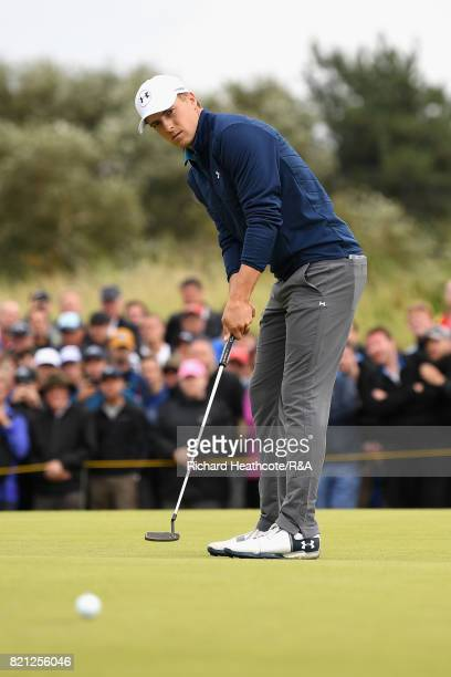 Jordan Spieth of the United States makes a birdie putt on the 16th hole during the final round of the 146th Open Championship at Royal Birkdale on...
