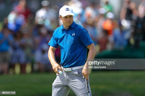Jordan Spieth of the United States makes his birdie putt on during the second round of the Fort Worth Invitational on May 25 2018 at Colonial Country...