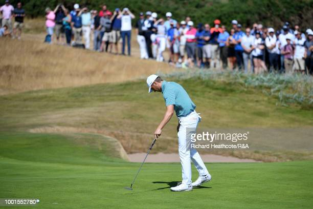 Jordan Spieth of the United States misses birdie putt on the 5th hole during round one of the 147th Open Championship at Carnoustie Golf Club on July...