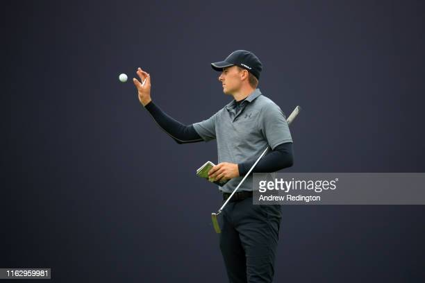 Jordan Spieth of the United States on the 18th green during the second round of the 148th Open Championship held on the Dunluce Links at Royal...