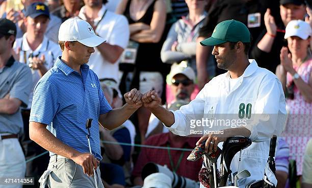 Jordan Spieth of the United States on the 18th green during the third round of the 2015 Masters at Augusta National Golf Club on April 11 2015 in...