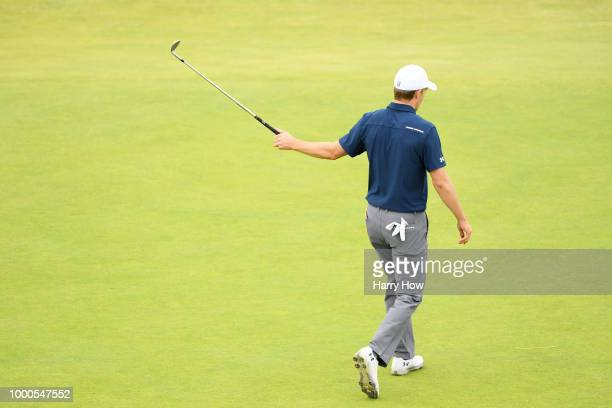 Jordan Spieth of the United States on the 18th hole during previews to the 147th Open Championship at Carnoustie Golf Club on July 16 2018 in...