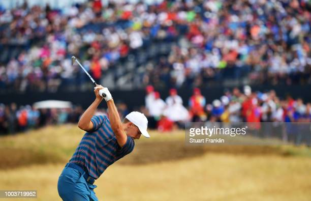 Jordan Spieth of the United States on the fifth hole during the final round of the 147th Open Championship at Carnoustie Golf Club on July 22 2018 in...