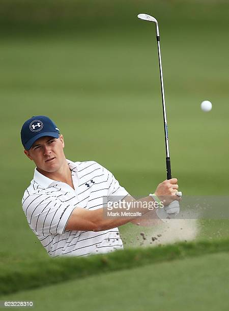 Jordan Spieth of the United States plays a bunker shot during a practice round ahead of the 2016 Australian Golf Open at Royal Sydney Golf Club on...