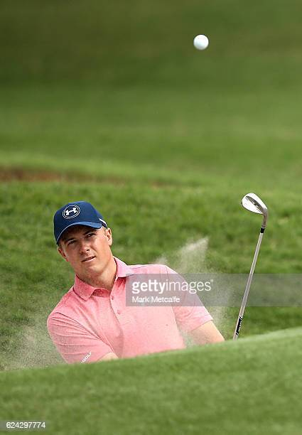 Jordan Spieth of the United States plays a bunker shot on the 16th hole during day three of the Australian golf Open at Royal Sydney GC at Royal...