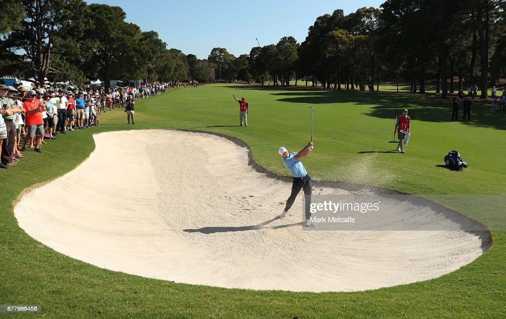Jordan Spieth of the United States plays a bunker shot on the 17th hole during day two of the 2017 Australian Golf Open at the Australian Golf Club on November 24, 2017 in Sydney, Australia.