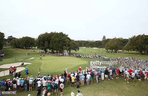 Jordan Spieth of the United States plays a chip shot on the 17th hole during day three of the Australian golf Open at Royal Sydney GC at Royal Sydney...
