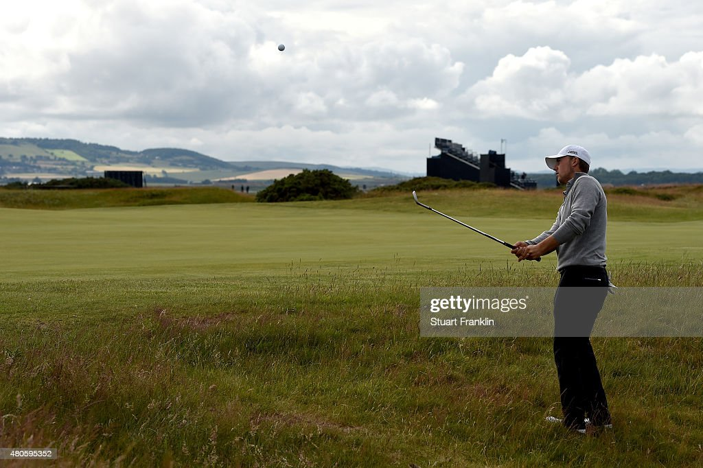 Jordan Spieth of the United States plays a practice round ahead of the 144th Open Championship at The Old Course on July 13, 2015 in St Andrews, Scotland.