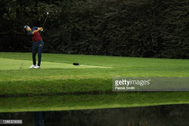 Jordan Spieth of the United States plays a second shot from the tee box on the 16th hole during the first round of the Masters at Augusta National...
