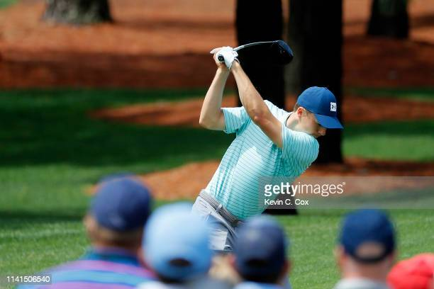 Jordan Spieth of the United States plays a shot during a practice round prior to the Masters at Augusta National Golf Club on April 09 2019 in...
