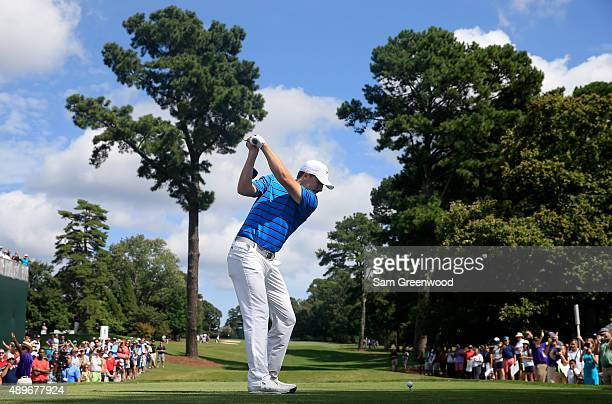 Jordan Spieth of the United States plays a shot during a practice round for the TOUR Championship By CocaCola at East Lake Golf Club on September 23...