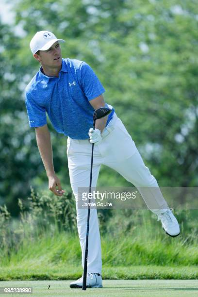 Jordan Spieth of the United States plays a shot during a practice round prior to the 2017 US Open at Erin Hills on June 12 2017 in Hartford Wisconsin