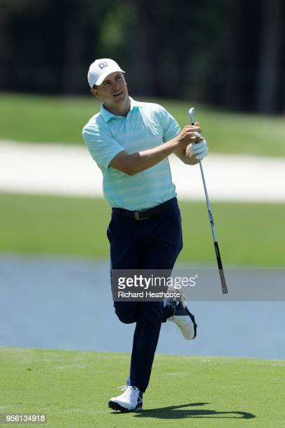 Jordan Spieth of the United States plays a shot during practice rounds prior to THE PLAYERS Championship on the Stadium Course at TPC Sawgrass on May...