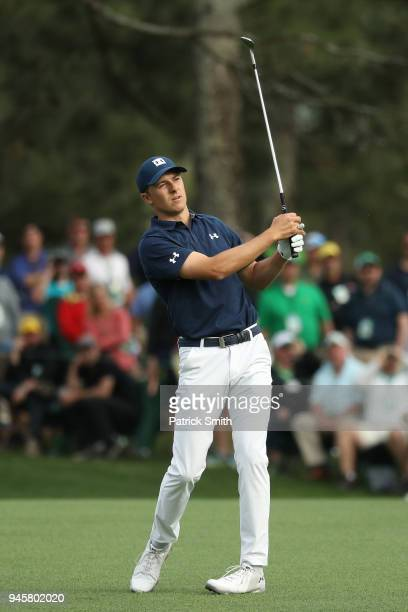 Jordan Spieth of the United States plays a shot during the first round of the 2018 Masters Tournament at Augusta National Golf Club on April 5 2018...