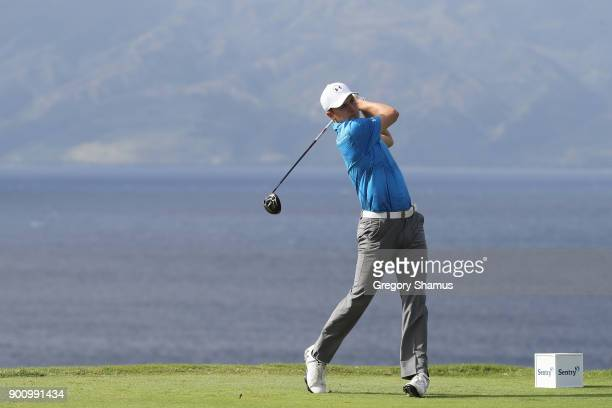 Jordan Spieth of the United States plays a shot during the proam tournament prior to the Sentry Tournament of Champions at Plantation Course at...