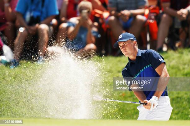 Jordan Spieth of the United States plays a shot from a bunker on the sixth hole during the third round of the 2018 PGA Championship at Bellerive...