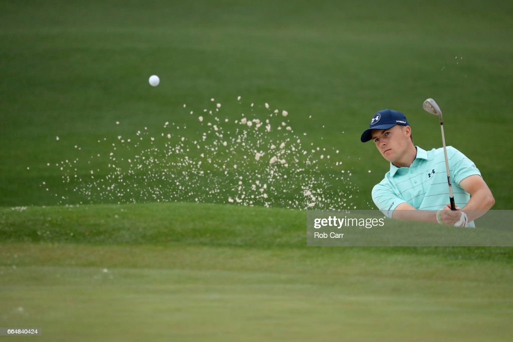 Jordan Spieth of the United States plays a shot from a bunker on the second hole during a practice round prior to the start of the 2017 Masters Tournament at Augusta National Golf Club on April 5, 2017 in Augusta, Georgia.