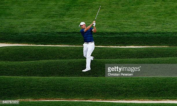 Jordan Spieth of the United States plays a shot from the Church Pews on the 15th hole during the first round of the US Open at Oakmont Country Club...