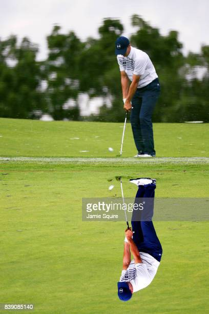 Jordan Spieth of the United States plays a shot on the 15th hole during round two of The Northern Trust at Glen Oaks Club on August 25 2017 in...