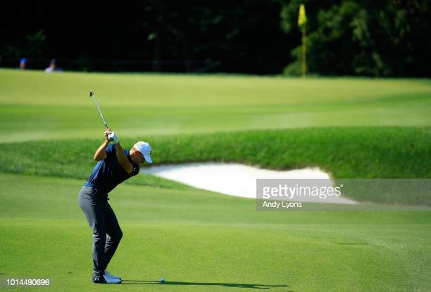 Jordan Spieth of the United States plays a shot on the 17th hole during the second round of the 2018 PGA Championship at Bellerive Country Club on...