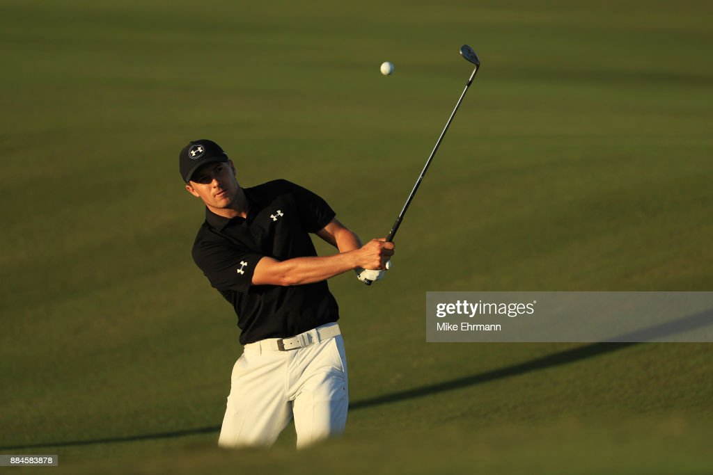 Jordan Spieth of the United States plays a shot on the 17th hole during the third round of the Hero World Challenge at Albany, Bahamas on December 2, 2017 in Nassau, Bahamas.
