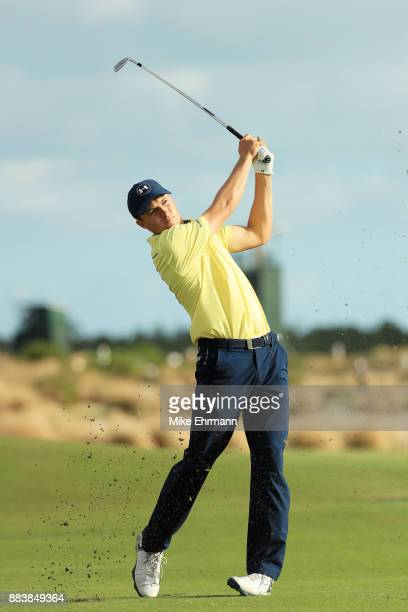 Jordan Spieth of the United States plays a shot on the 18th hole during the second round of the Hero World Challenge at Albany Bahamas on December 1...