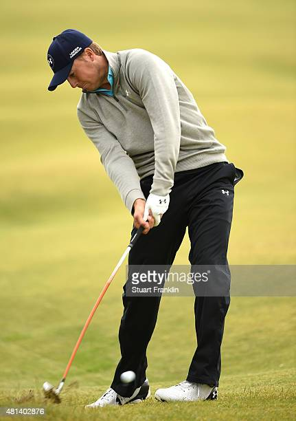 Jordan Spieth of the United States plays a shot on the 5th hole during the final round of the 144th Open Championship at The Old Course on July 20,...